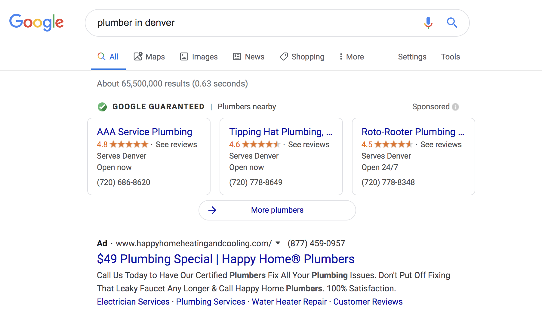 Local Services by Google, Plumber in Denver search Feb 2020